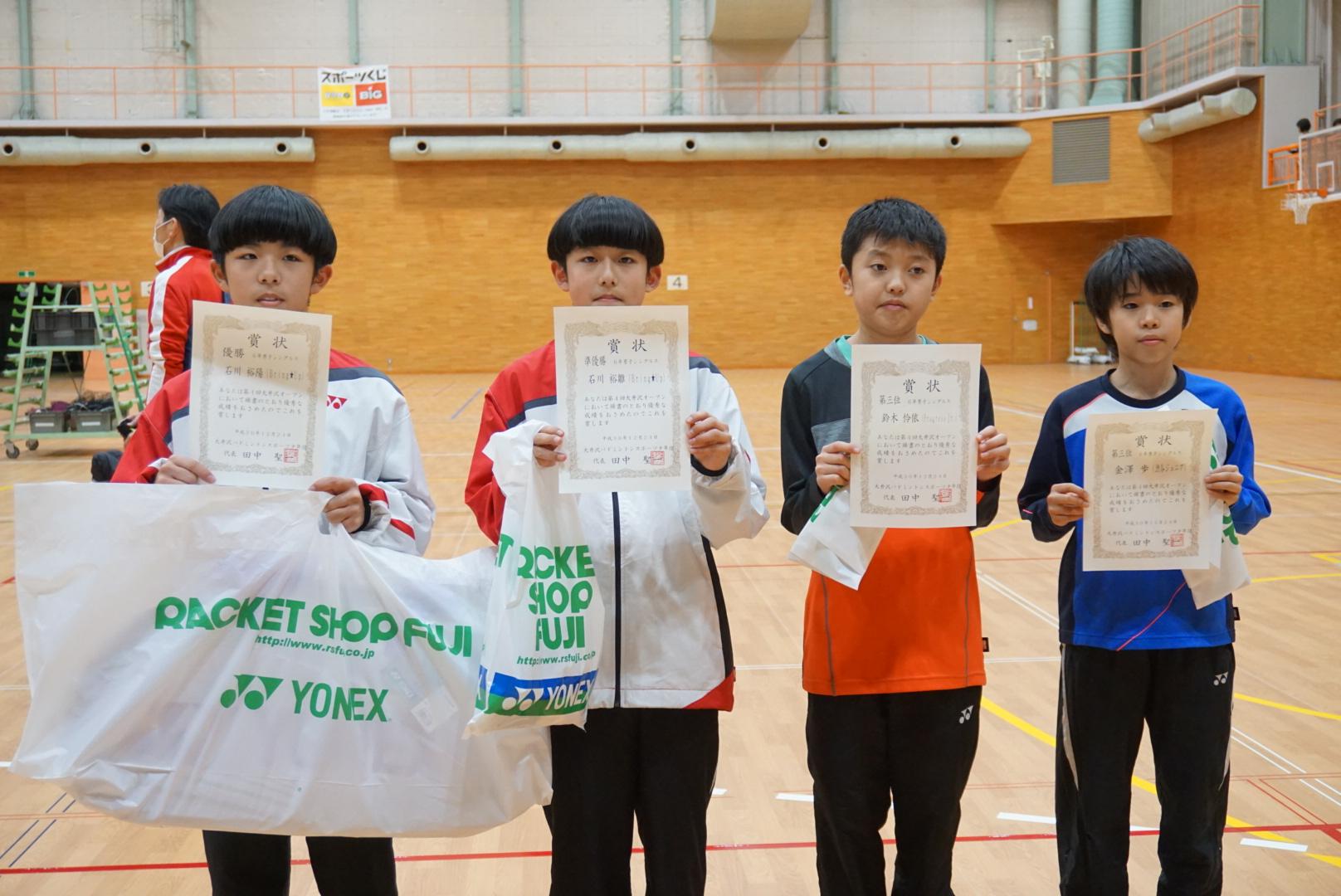 6年男子シングルス入賞者