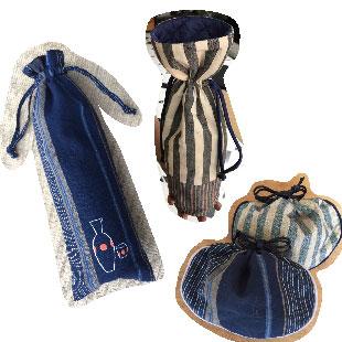 お酒袋(とっくり型・ハンド刺繍型) おちょこいれ袋
