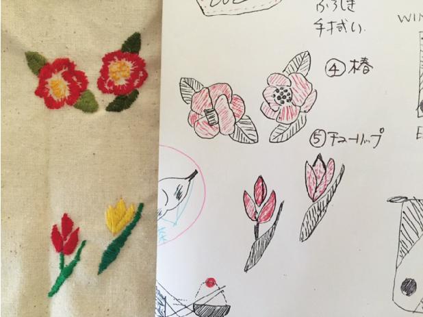 図案決め 太い糸でラフを作って発注。イラストと刺繍の写真