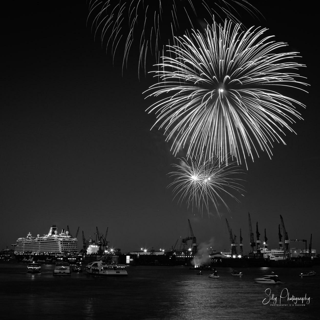 Hamburg / Hamburger Hafen / Hafencity / Mein Schiff 3, Schiffstaufe, Feuerwerk, 2014, © Silly Photography
