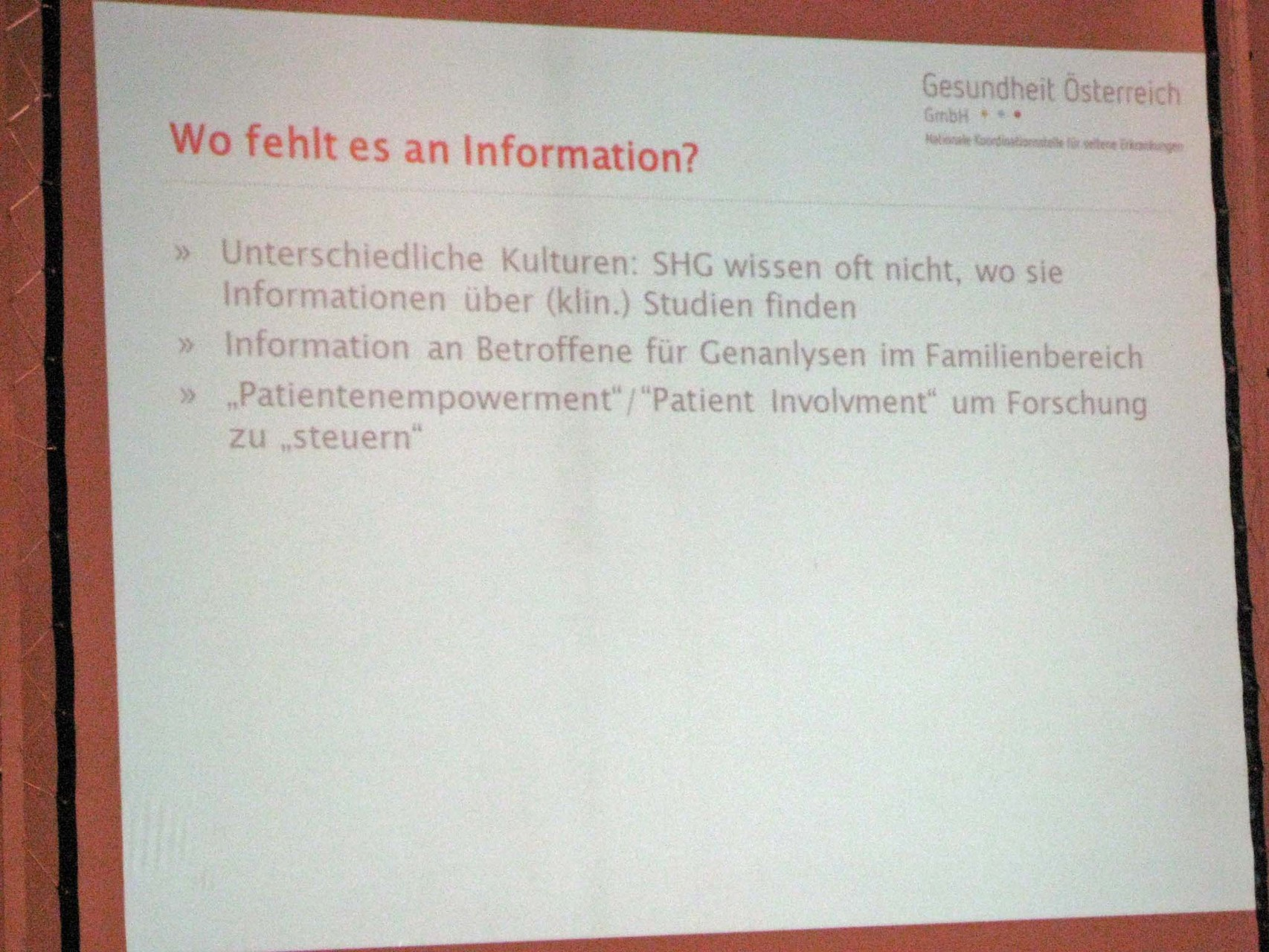 Wo fehlt es an Information?