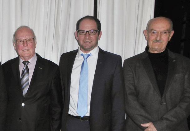 Unser im Amt bestätigter Vorstand: v.l. 1. Vorsitzender Werner Echle,  2. Vorsitzender Andreas Flöß, Schatzmeister Hasko Froese