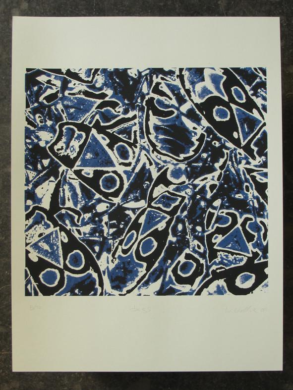 BUGS blau 45x45cm, Blatt 70x50cm, Auflage 7Stück