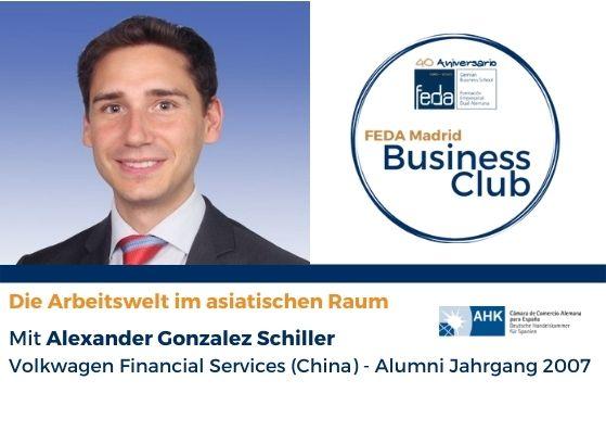 """Exalumno Alexander González en el FEDA Madrid Business Club: """"Trabajar en el continente asiático"""""""