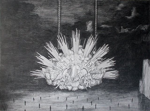 Vaticaans toneel - potlood op papier 70 x 100 cm.