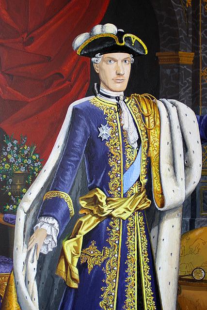 Pendant portret Maikel van Vilsteren als Louis XIV - acrylverf op paneel 102 x 61 cm