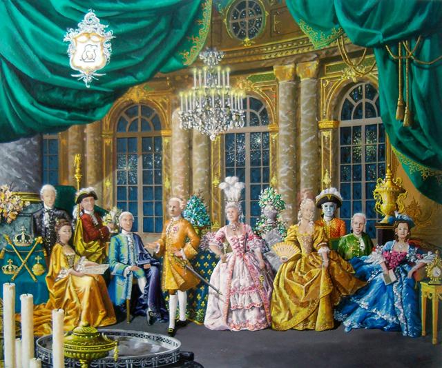 Familieportret in stijl 18e eeuw. Acrylverf op paneel. 60 bij 80 cm.