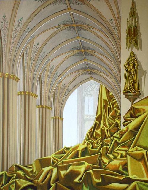 Gele doek in gotisch bouwwerk. Acrylverf op paneel. 81.5 x 61 cm.