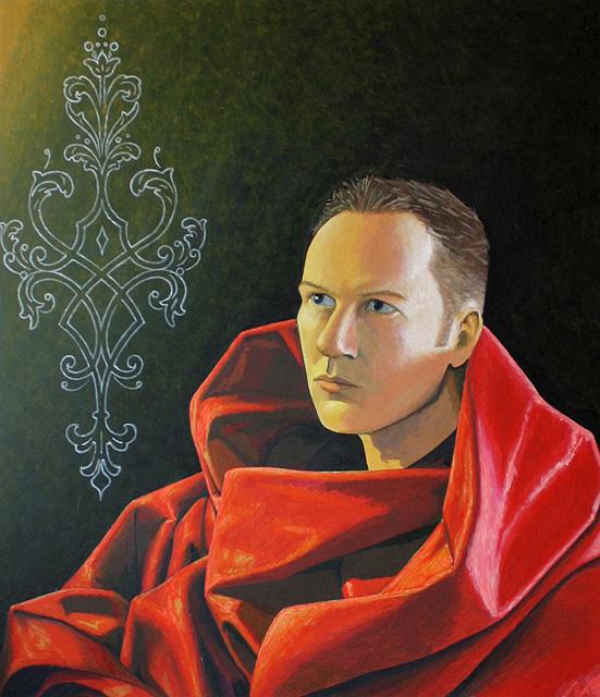 Zelfportret in clair obscur. Acrylverf op paneel. 72 x 61 cm.