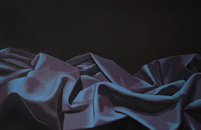 Paars landschap. Acrylverf op paneel. 61 x 40 cm.