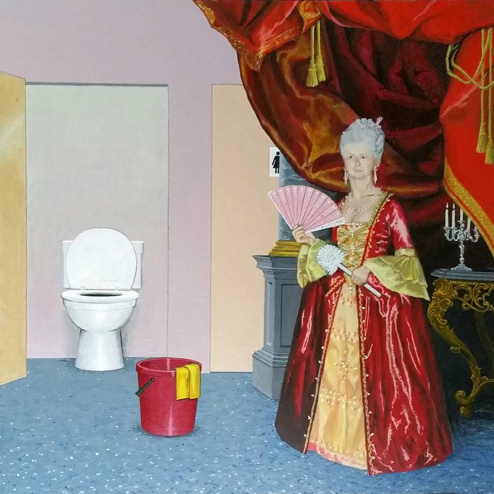 Toilet maken. Acrylverf op paneel. 40 bij 61 cm.