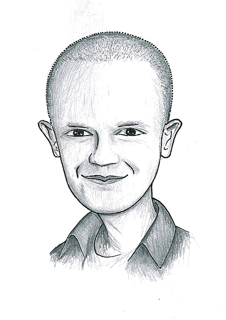 Karikatuur 11 - potlood / zwarte pen op papier 21 x 29.7 cm