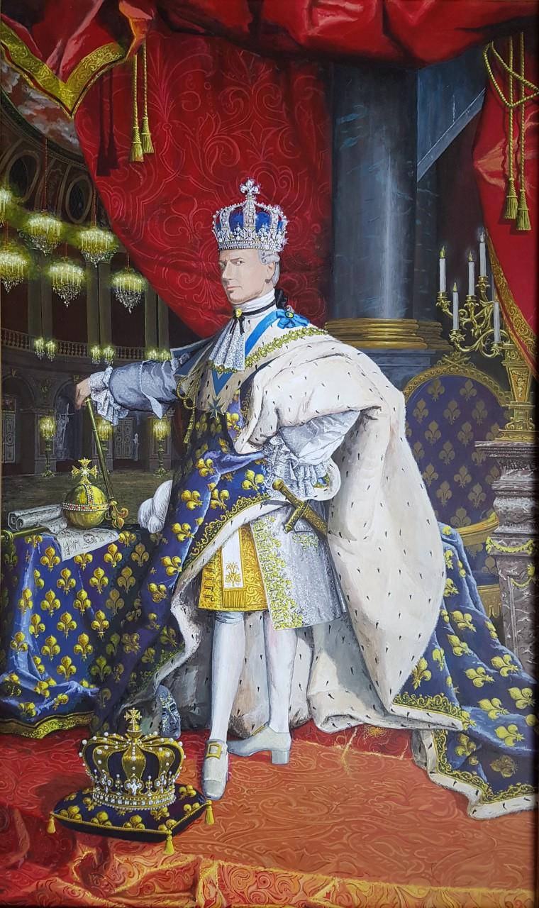 Zelfportret naar portret Louis XIV door Hyacinthe Rigaud. Acrylverf op paneel. 102 bij 61 cm.