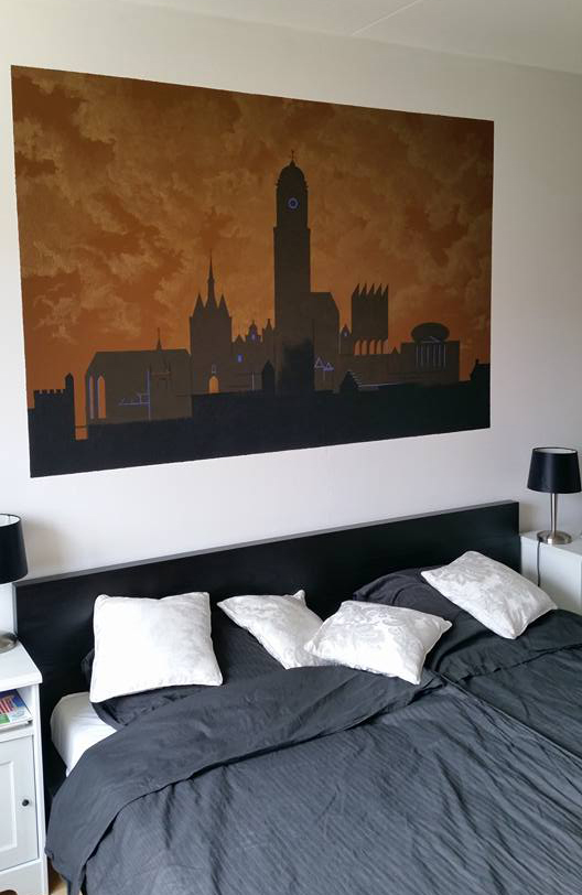 Slaepcaamer - Muurschildering. 180 bij 100 cm