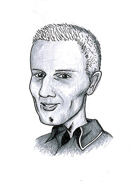 Karikatuur 4 - potlood / zwarte pen op papier 21 x 29.7 cm