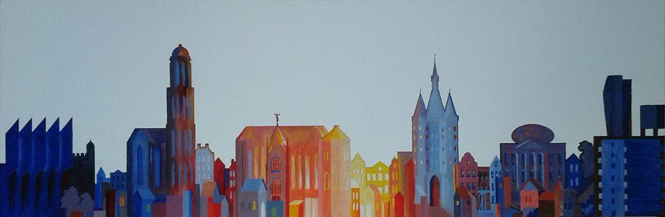 Silhouet Zwolle Acryl op doek 50 bij 120 cm.