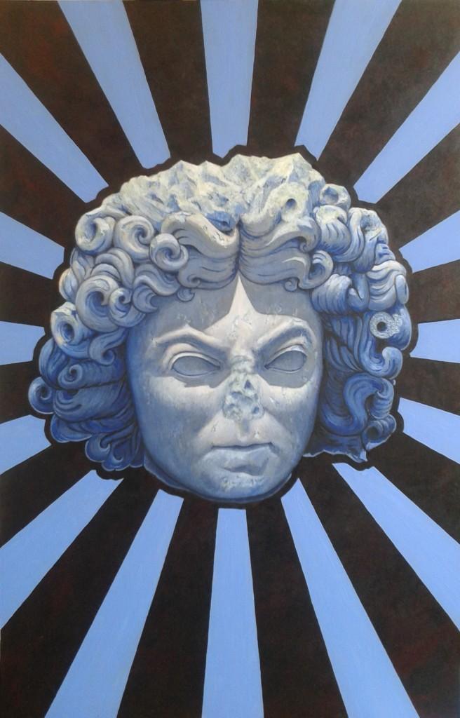 Bluey Quatorze. Acryl op paneel 40 bij 61 cm.