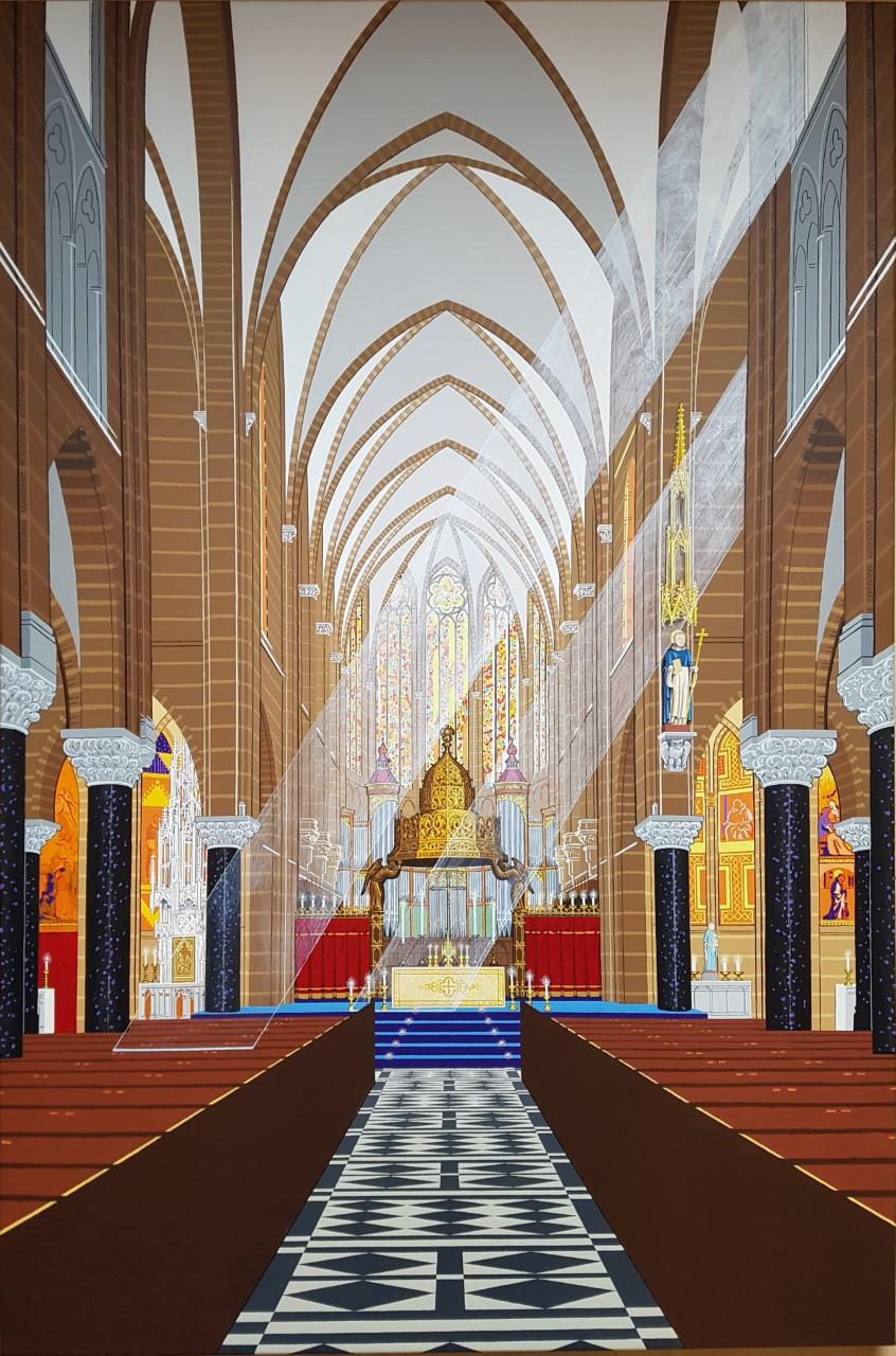 Interieur Dominicanenkerk Zwolle, Acryl op doek, 120 bij 80 cm.