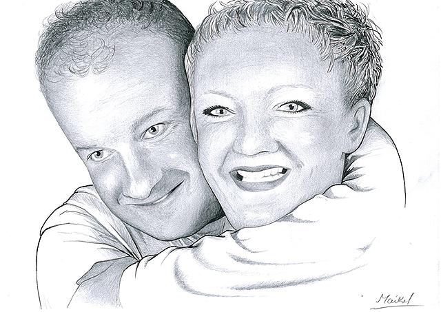 Portret 1 - potlood / zwarte pen op papier 21 x 29.7 cm