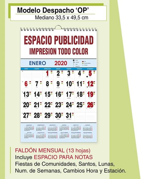 Calendario Lunar 2020 Espana.Calendario Publicitario Despacho Mediano Calendarios Publicitarios