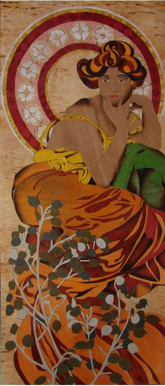 Marqueterie - Topaze d'après un tableau d'Alfons Mucha