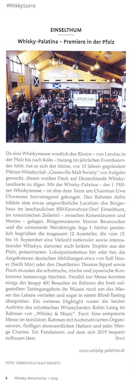 Artikel im Whisky-Botschafter 1/2019