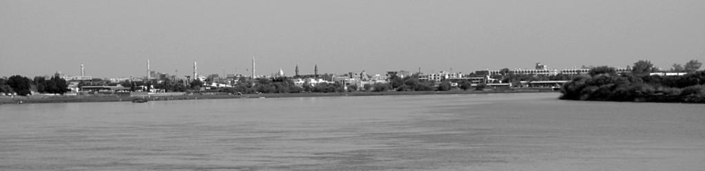 Jonction des deux nils, White Nil à gauche et Blue Nil à droite, Khartoum, Soudan
