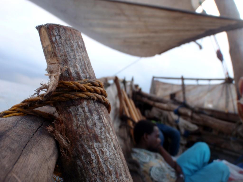 A bord de mon dhow (boutre) en direction de l'archipel de Zanzibar