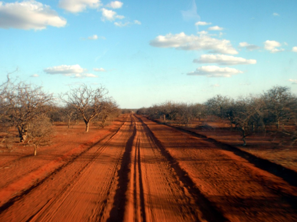Piste de sable rouge, désert somalien, Kenya