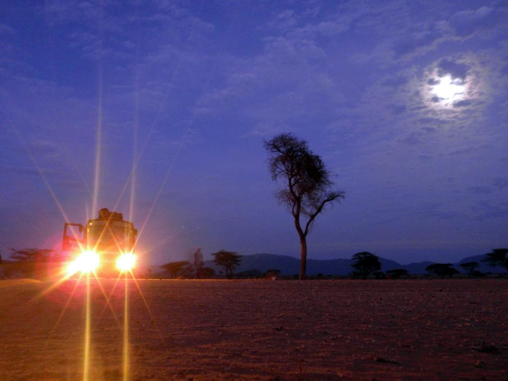 Sur la route de Moyale, prière du matin dans le désert, Kenya