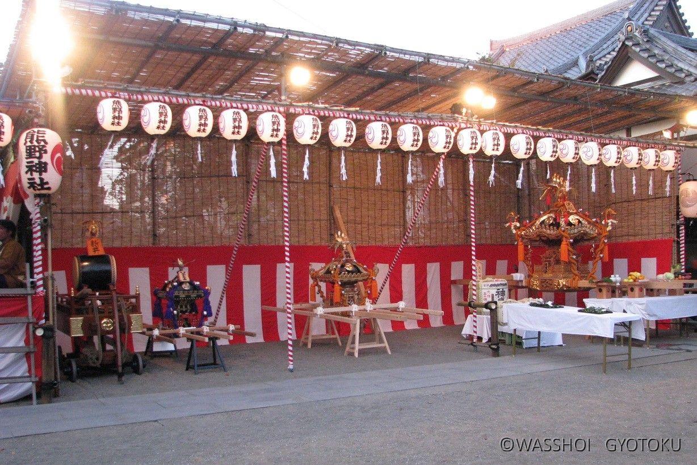 宵宮前の熊野神社境内
