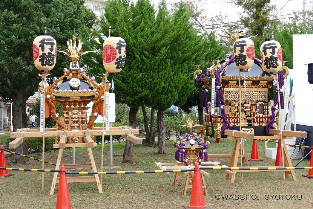 会場に展示された3基の神輿