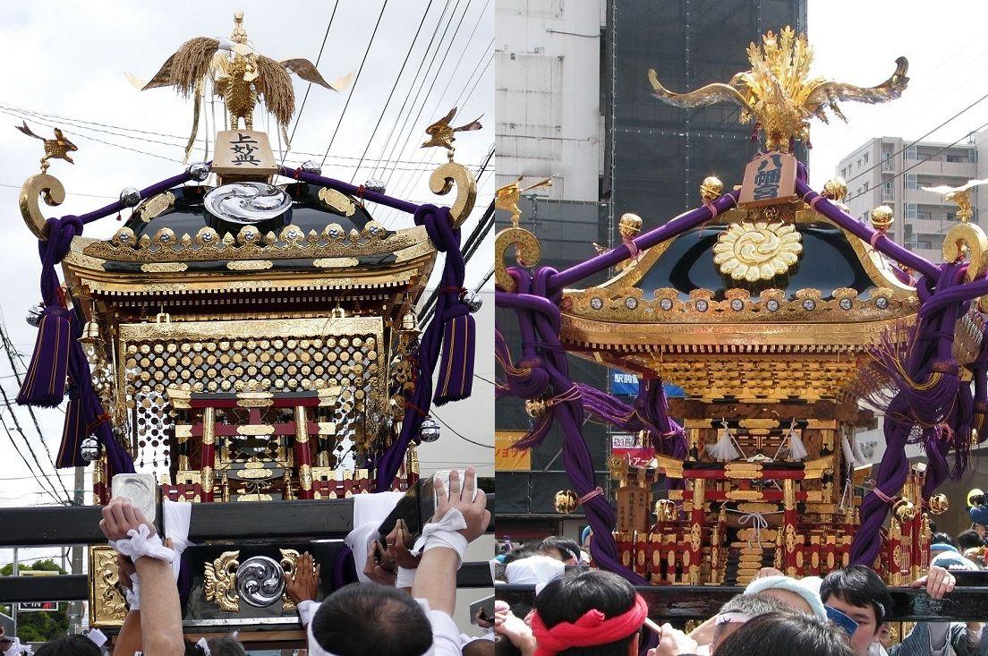 上妙典の神輿と葛飾八幡宮の神輿