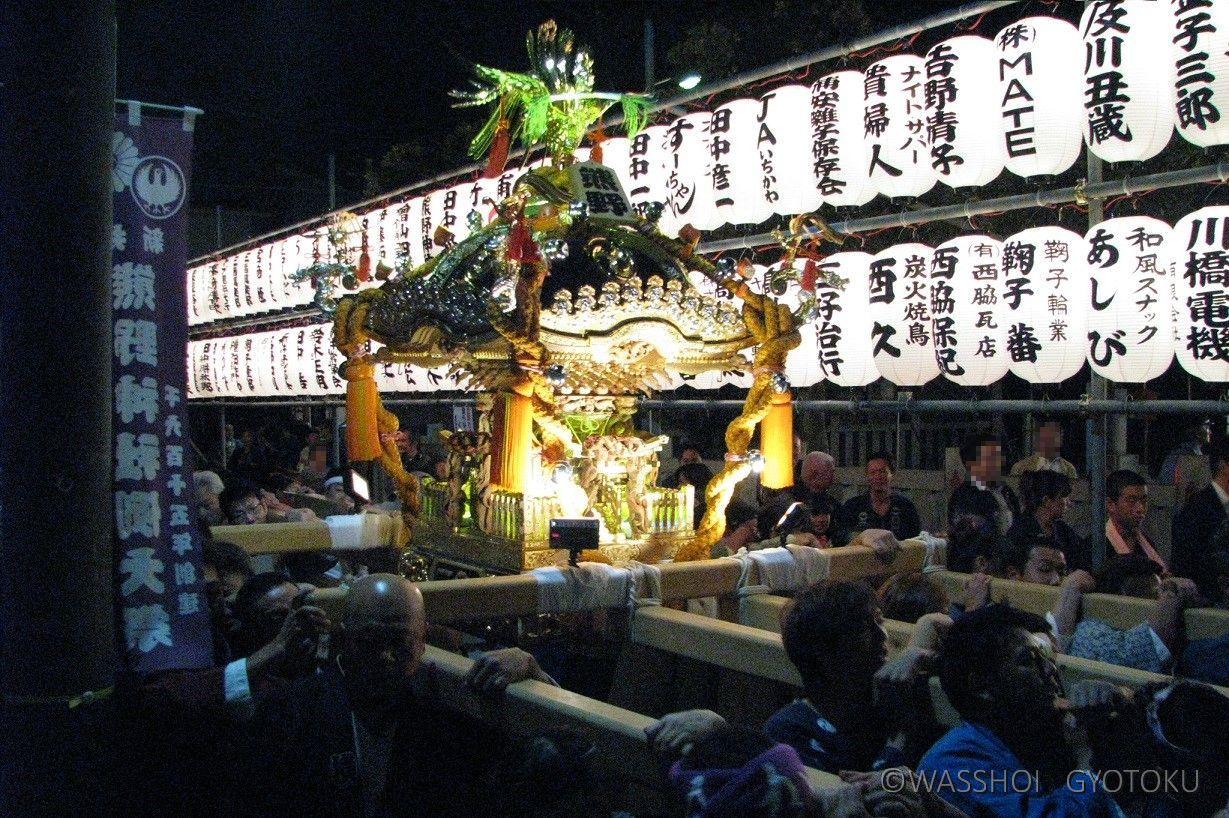 続いて神社神輿も神社周辺を巡行します