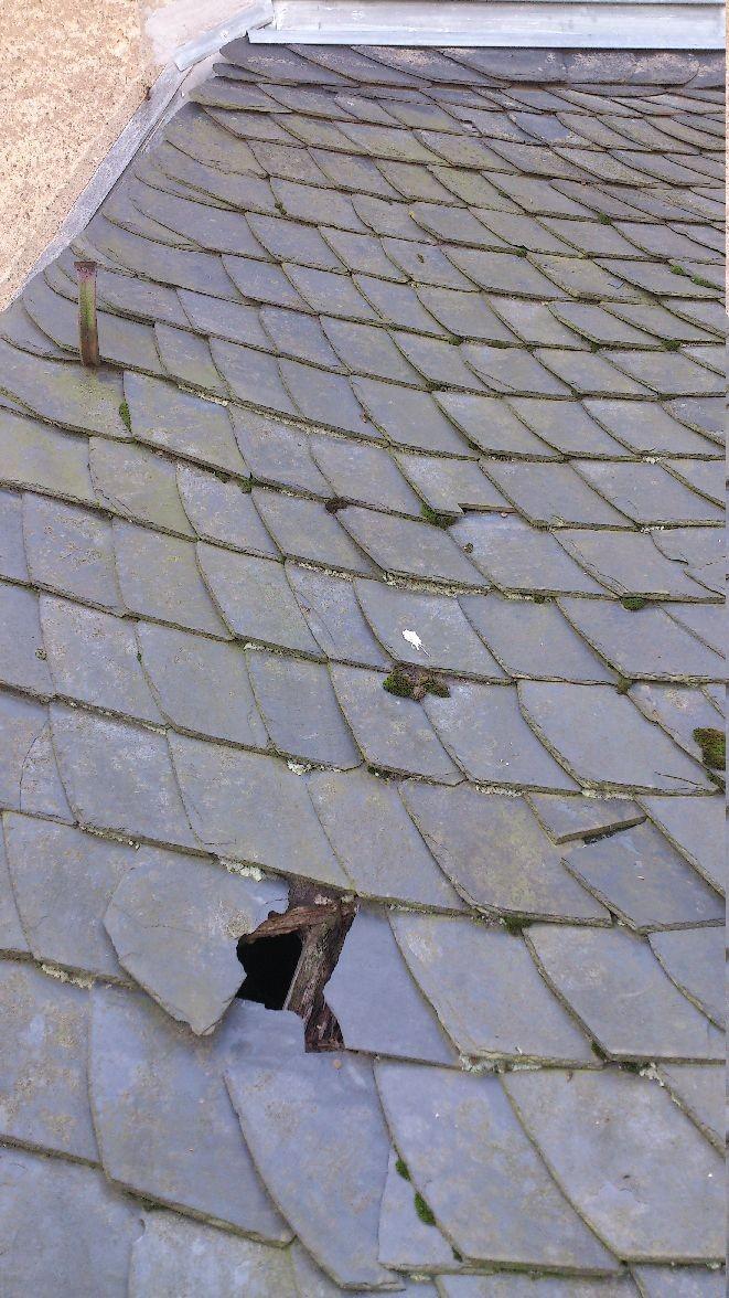 Das Dach des Vorbaus aus der Nähe
