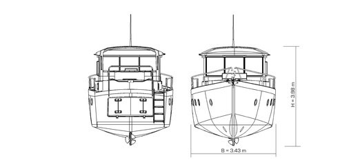 Liniendarstellung des modernen Verdränger-Motorbootes IC39
