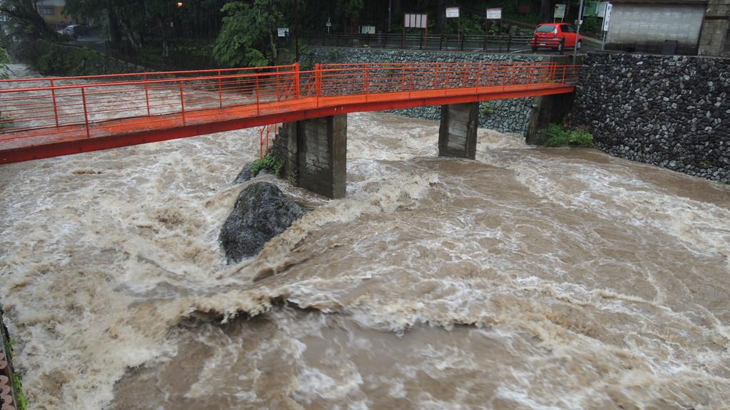 雨で増水した家の裏の山上川。数日したら、じかに飲めそうな清流によみがえります。  2011.6月