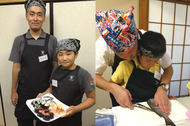 つくったお寿司は板長と一緒に食べることも、土産話と一緒にお持ち帰りすることもできます。初めて包丁を使うお子さまでも、安心して体験して頂けるアットホームな雰囲気の教室。