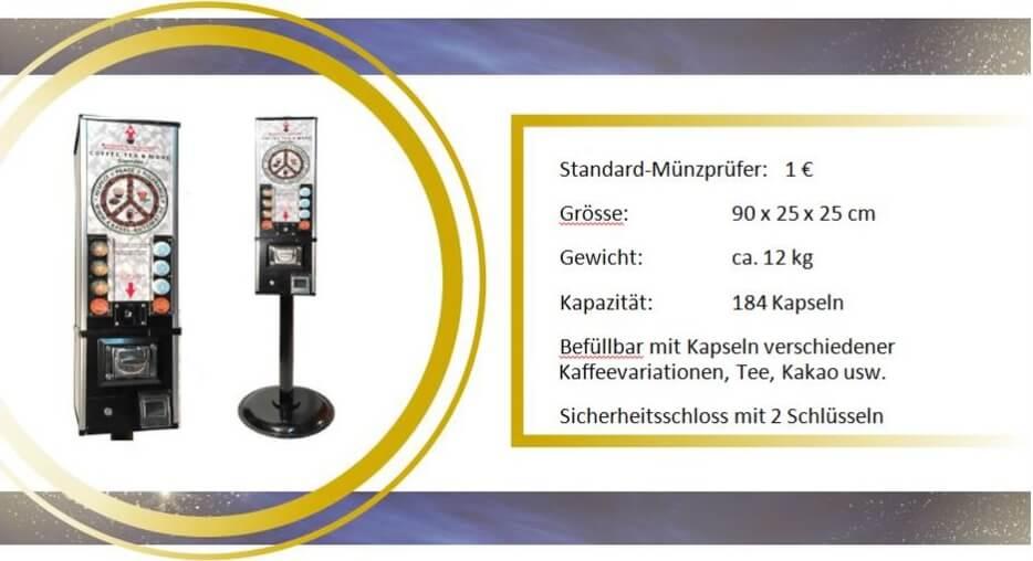 Technische Informationen und Wahlmöglichkeiten für den Kaffeekapsel-Automat für Cafissimo
