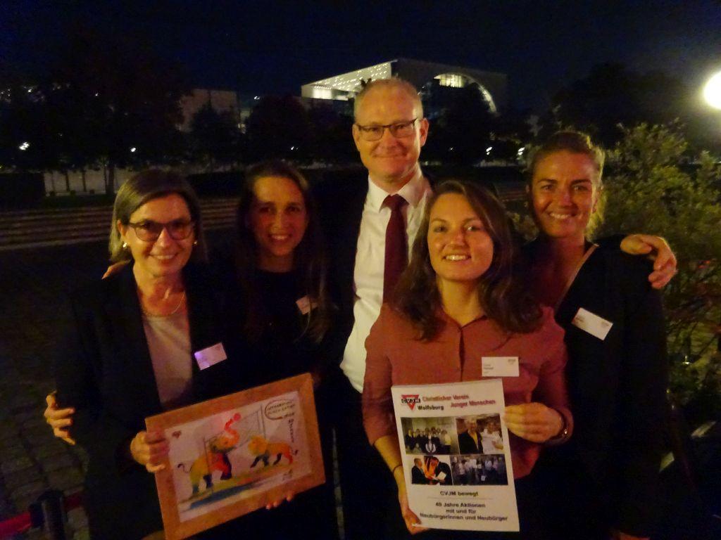 Heike Kübler (von links), Anna Strugovshchikova, Thomas Arnold, Paula Henzel und Leonie Maeder vom Deutschen Olympischen Sportbund