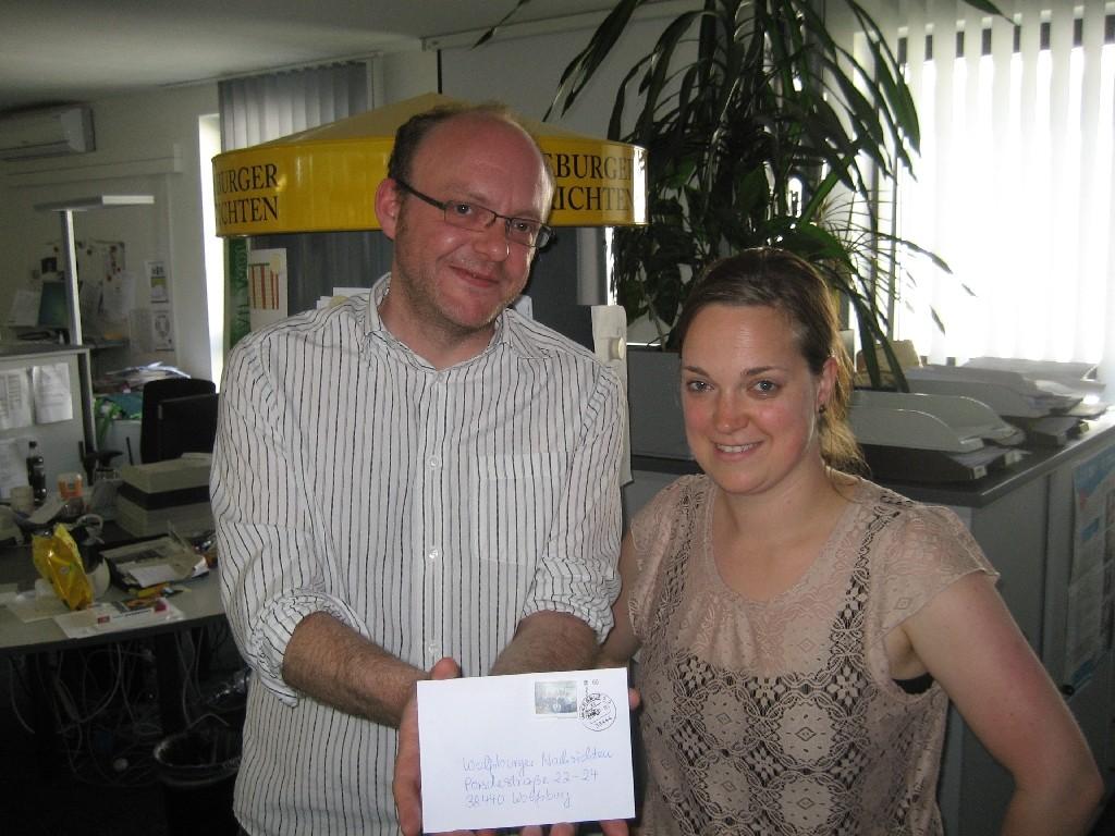 Katharina Pahl (rechts) und Christop Knoop von der Wolfsburger Nachrichten