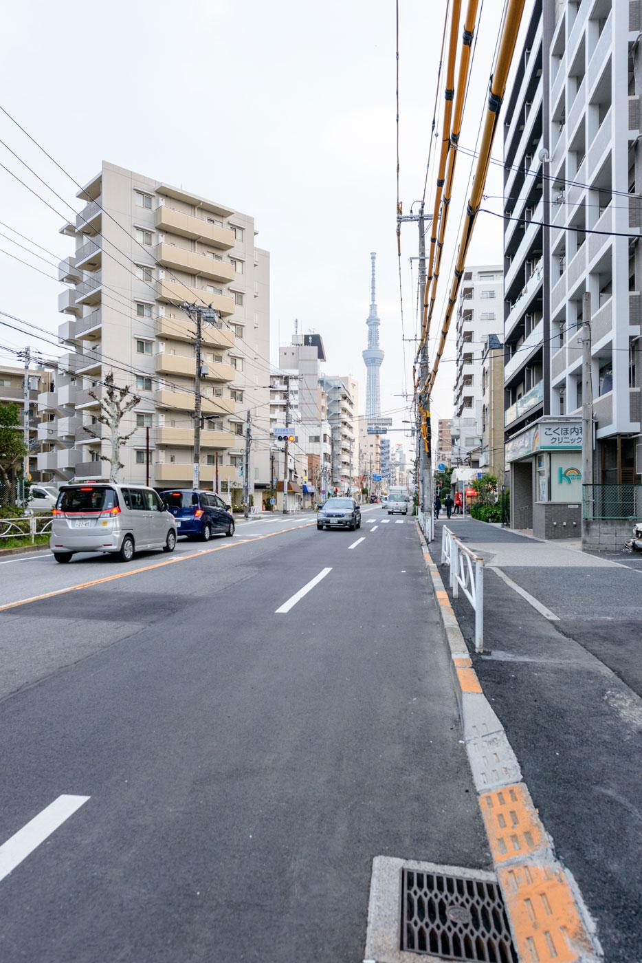 現地前の道路(曳舟川通り)からみる東京スカイツリー