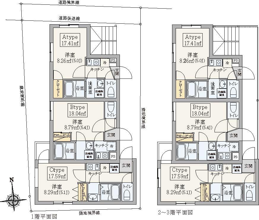 パルゼ北千住の各階平面図