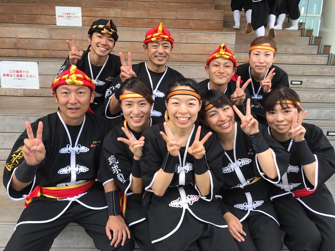 粕壁エイサーを最後に琉球國祭り太鼓を卒業するメンバーと。