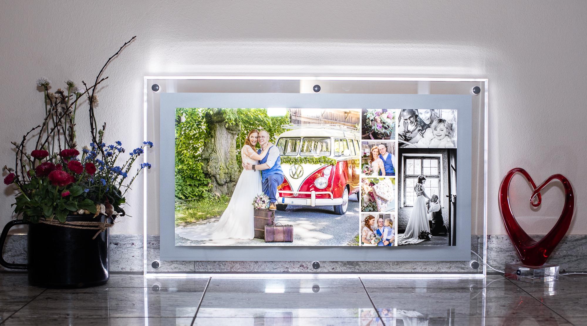 Acryl Leuchtrahmen 300/600 mm mit Collage Design 7b