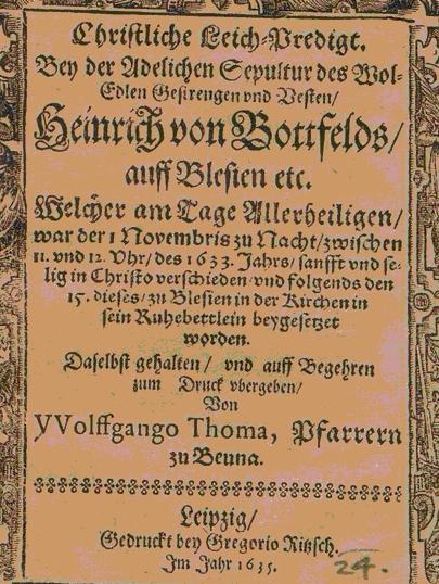 Titelblatt der 1635 veröffentlichten Leichenpredigt zum Todes des Heinrich von Bottfeld am 1.Nov.1633 [33]
