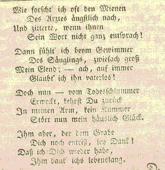 Gedicht der Ehefrau nach Genesung von den Pocken
