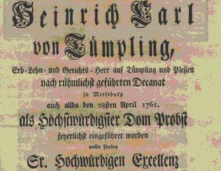 Abbildung: Titelblatt Glückwünsche von sämtlichen Chorales zur Einführung des Heinrich Carl von Tümpling in das Amt des Domprobstes von Merseburg (Lobgedicht) [53]