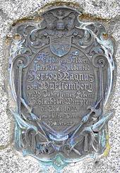 Gedenkstein zum Tod von Magnus von Württemberg in Obereisesheim, Wikipedia 2016