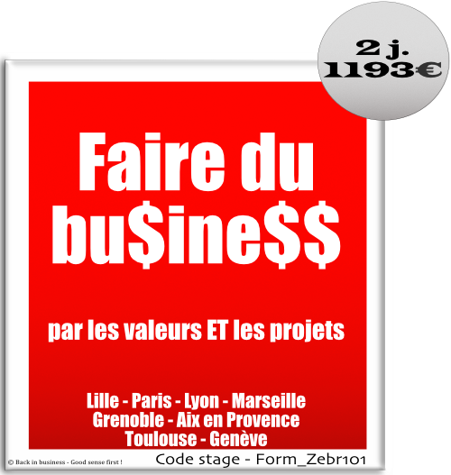 Faire du business par les valeurs et les projets - Management de projet - Management hors hiérarchie - Management transversal - Management à distance - Formation professionnelle Inter / intra entreprise - Back in business - Good sense first !.